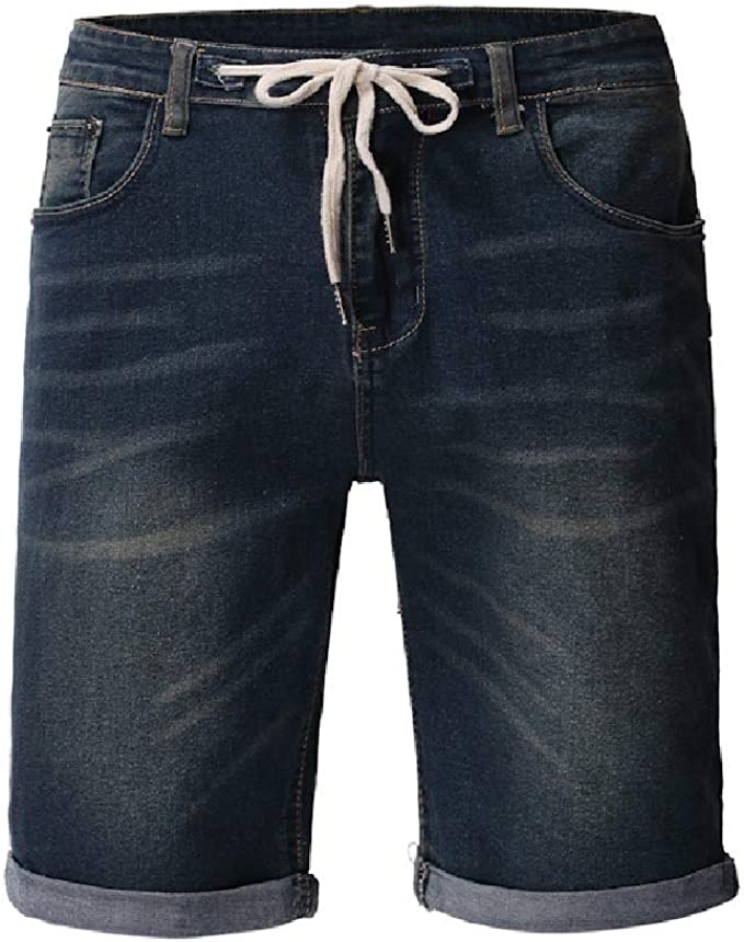 YAXINHE Men Denim Drawstring Wash Straight-Fit Ombre Pockets Moto Denim Short Pants
