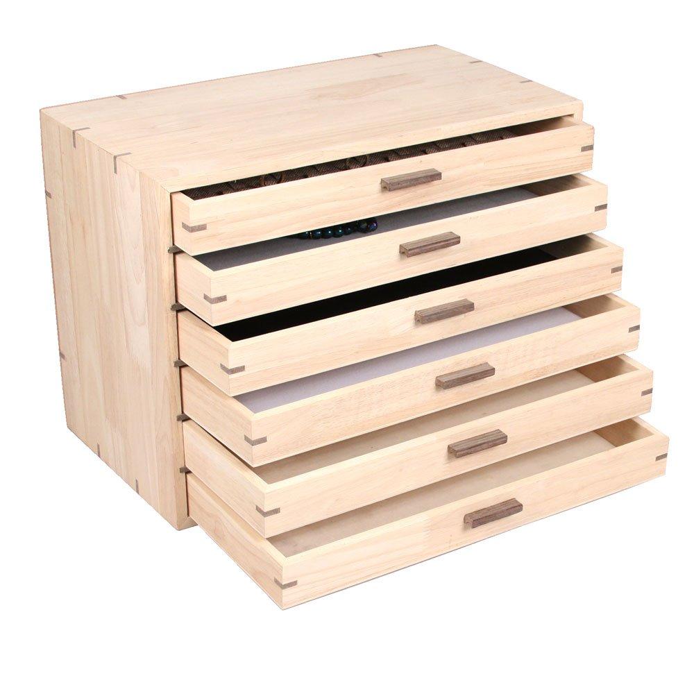 Wooden Storage Organizer with 6 Drawers (TY-8816-NW), 16'' x 9'' x 11 3/4'' H; Trays 1 1/2'' H