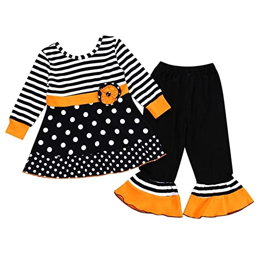 568a1a68d Amazon.com: Toddler Baby Girl 2Pcs Clothes Sets for 12 Months-5T,Lovely  Long Sleeve Halloween Polka Dot Striped Top Skirts Pants Outfits: Clothing