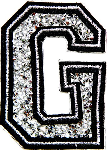 "3"" (A-Z) White Crystal English Letter Character Alphabet Rhinestone Shiny Patch Iron on Embroidered Craft Handmade Baby Kid Girl Women Sexy Lady DIY Accessories Costume (G (2.25""wide x 3""tall))"