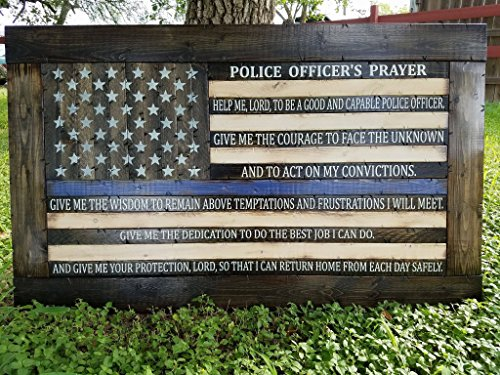 Framed Rustic Style Wooden Thin Blue Line American Flag w/ Police Officer's Prayer (26''x44'') by Cowboy Capital Rustic Signs