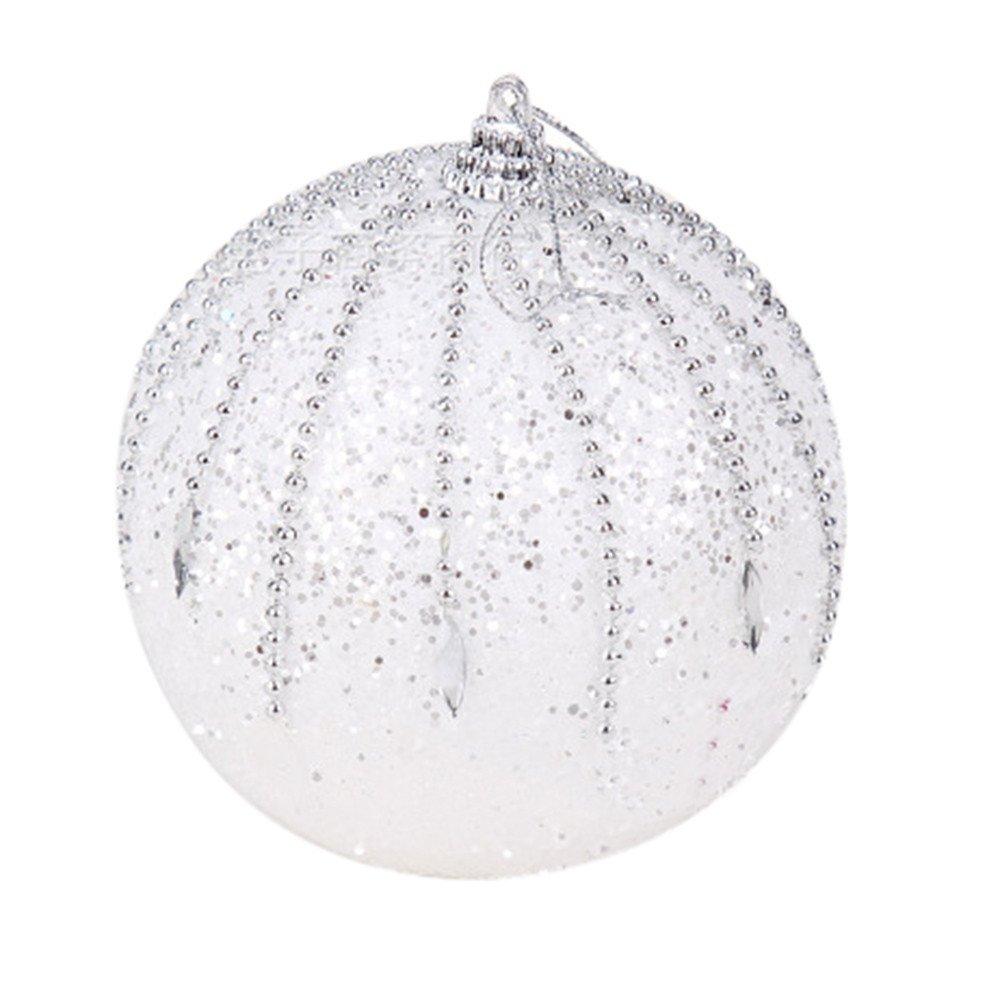 Hot AIMTOPPY Christmas Rhinestone Glitter Baubles Balls Xmas Tree Ornament Decoration 8CM (white, free)