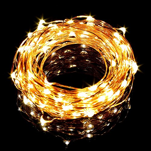 LE 33ft LED String Lights, 100 LEDs Copper Wire Lights, Flexible Fairy Lights, Warm White, Indoor and Outdoor Starry String Lights for Garden, Patio, Wedding, Tree, Party, Christmas