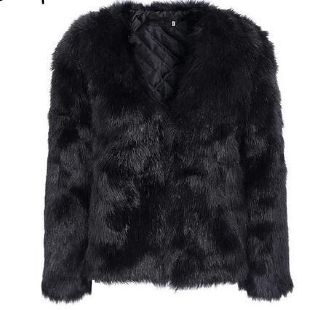 Women Faux Fur Coat, Winter Warm Fluffy Faux Fur Coat Hooded Jacket Cardigan Outerwear Tops for Party Club Cocktail (Black,US XXL=Asian XXXL)
