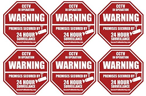 6-REAL-Red-Octagon-Shaped-Video-Surveillance-System-Security-Door-Window-Stickers-3-X-3-Inch-3M-Vinyl-Decals