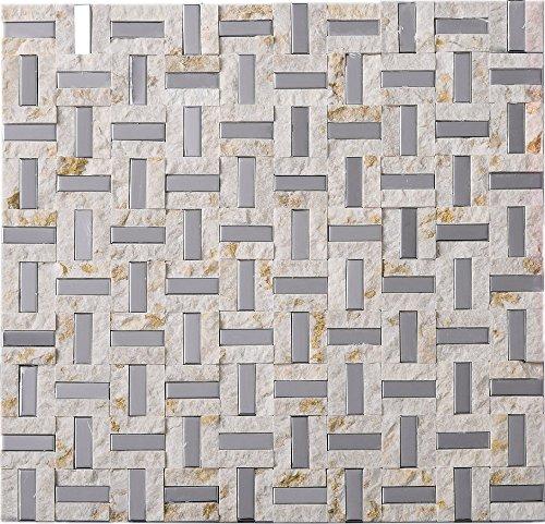 TMSG-17 Maze Basket Weave Light Emperador Slate Stone and Stainless Steel Backsplash Mosaic Tile Sheet-Kitchen and Bath backsplash Wall Tile