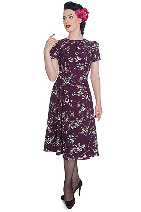 1940s Fashion Advice for Tall Women Hell Bunny New Birdy Vintage Landgirl 40s Dress $39.99 AT vintagedancer.com