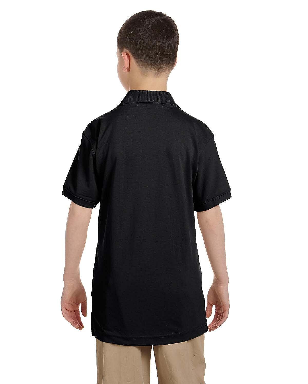 Harriton Youth 5.6 oz BLACK S Easy Blend Polo