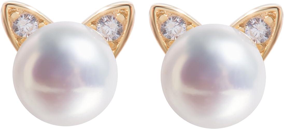 S.Leaf Purple Pearl Earrings Sterling Silver Earrings for Women AAAAA Freshwater Pearl Earrings 6mm