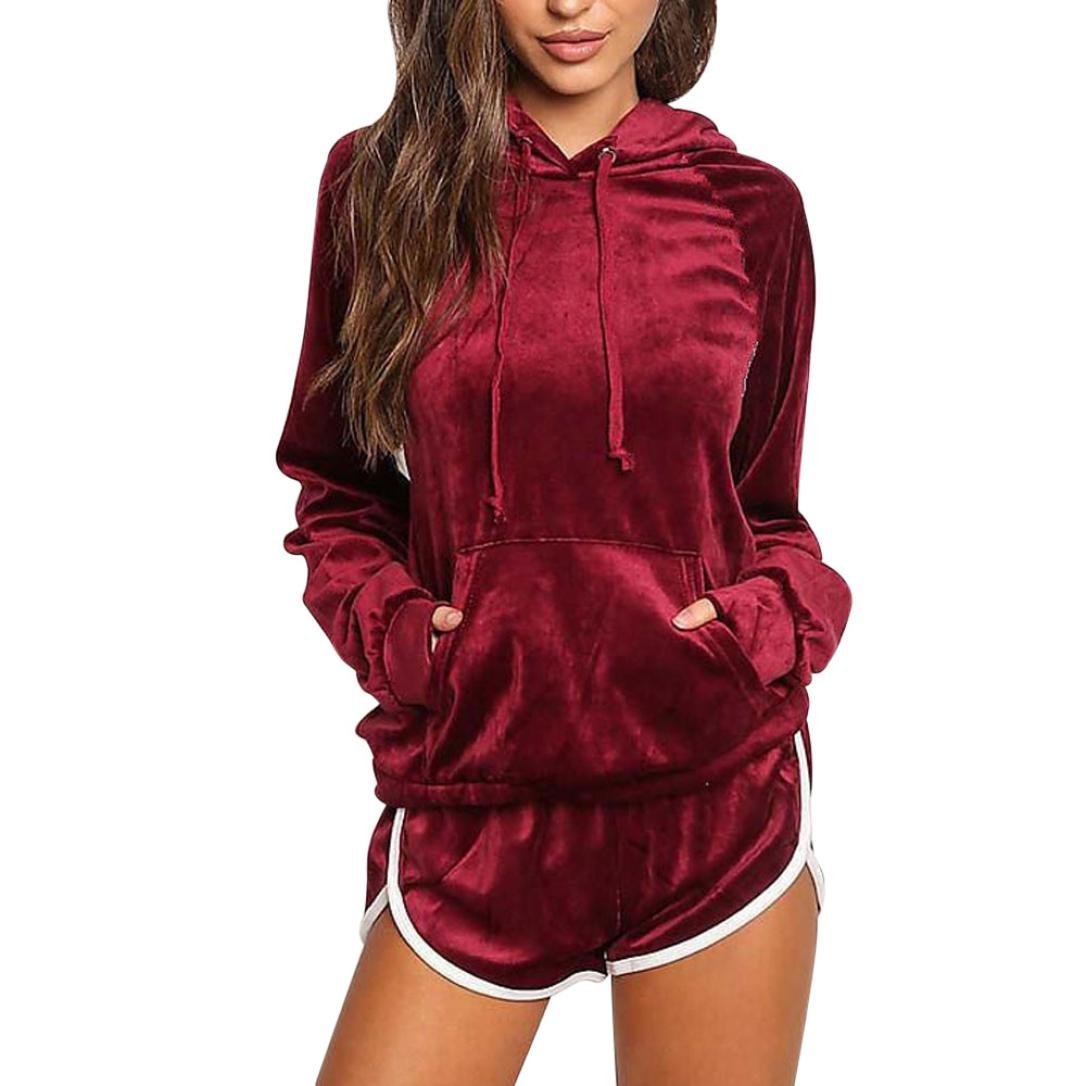HARRYSTORE Women Velour Velvet Tracksuit Set Lounge 2 Pc Set Home Long Sleeve Hoodies Sweatshirt Shorts Sets Sport Suit Plus Size Loungewear