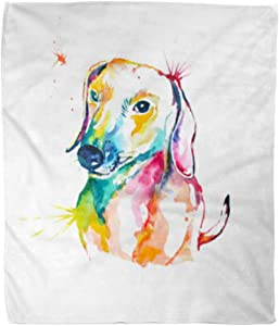 Golee Throw Blanket Animal Dachshund Hand Watercolor of Dog Bassotto Companion Cute Dash 50x60 Inches Warm Fuzzy Soft Blanket for Bed Sofa
