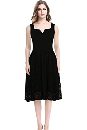 84a30198b4 Unomatch Women Square Notched Neck Mid Length Party Dress Black (Small,  Black)