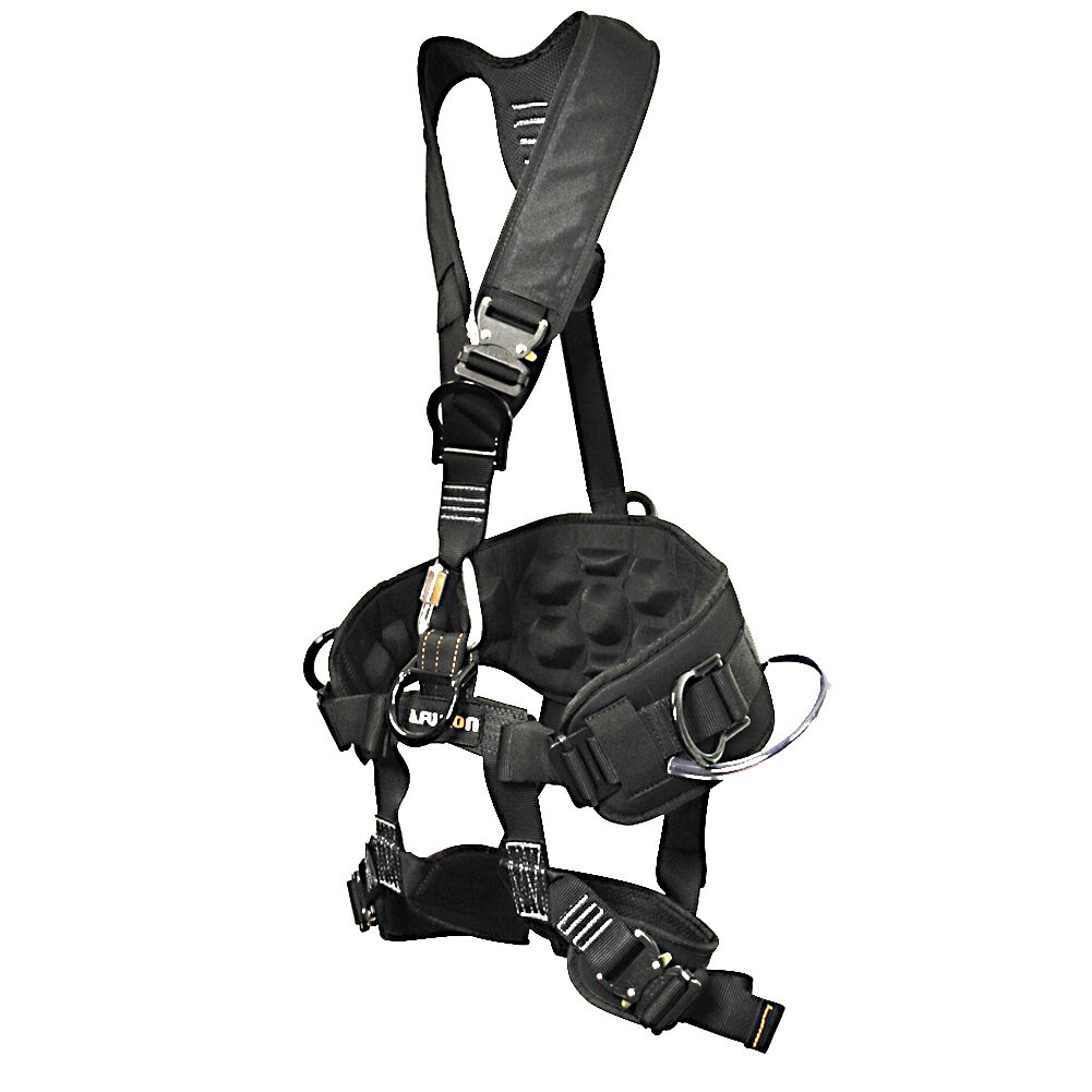 Fusion Climb Tac-Scape Heavy Duty Tactical Full Body Padded Y Style Rescue Harness, Small, Black/Gray