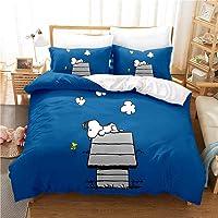 SMNVCKJ -Peanuts Snoopy Ropa de cama infantil, Snoopy y Woodstock, funda nórdica con funda de almohada de Snoopy…
