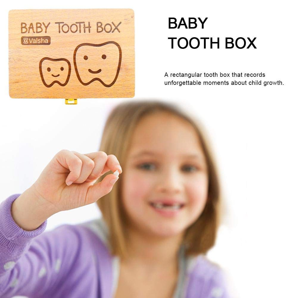 Baby Tooth Box Wooden Kids Keepsake Organizer Gift for Baby Teeth Cute Children Tooth Container with Tweezers to Keep The Childwood Memory