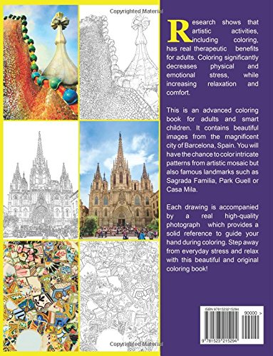 Barcelona Adult Coloring Book Anti Stress Relaxing And Calming Creative Art Books Volume 1 9781523215294 Amazon