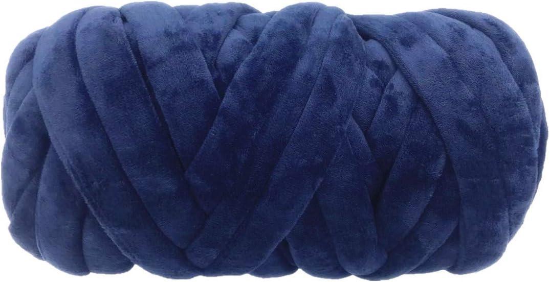خيوط مكتنزة مخملية فائقة نباتية، حبل سميك من الأكريليك قابل للغسل بغزل أنبوبي كبير لذراع الحياكة للمشاريع المنزلية والبطانيات لصنع الملابس (0.91 كجم / 43 ياردة، أزرق)