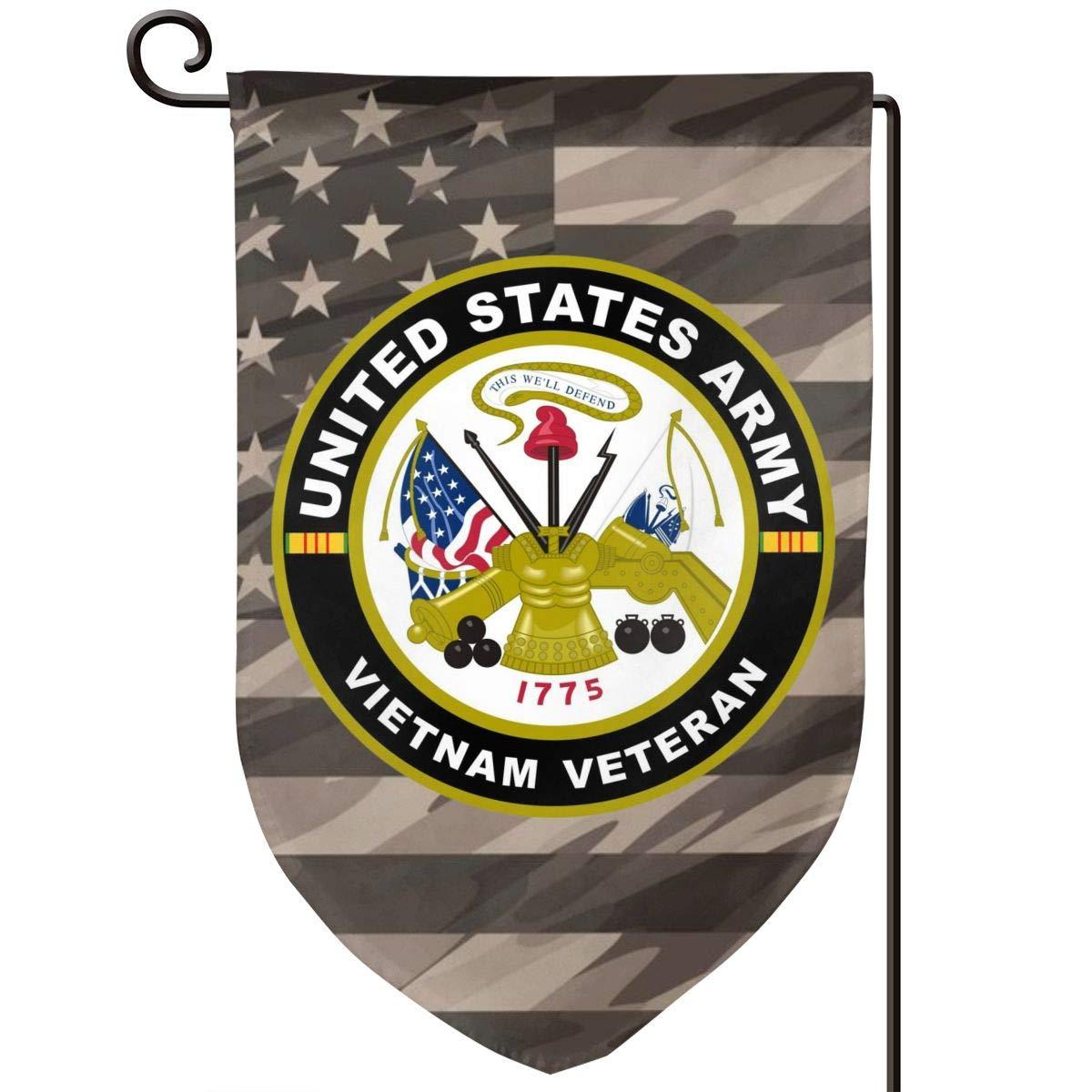 Army Vietnam Veteran Decorative Garden Flag Home Decor Yard Banner 12.5X18 Inch Printed Double Sided Sharp Corner