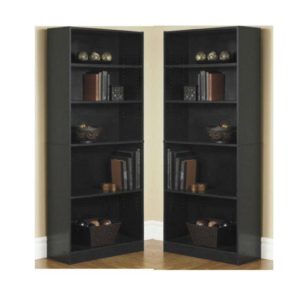 Black, 5-Shelf Mainstay` Orion Wide 5-Shelf Bookcase Birch Laminate, 5-Shelf Standard
