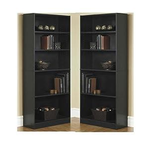 Mainstay` Orion Wide 5-Shelf Bookcase (Black, 5-Shelf)