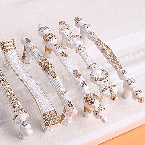 Zhi Jin 4Pcs Luxury Diamond Cabinet Handles Wardrobe Book Drawer Handle Room Decorative White 192mm by Zhi Jin (Image #3)