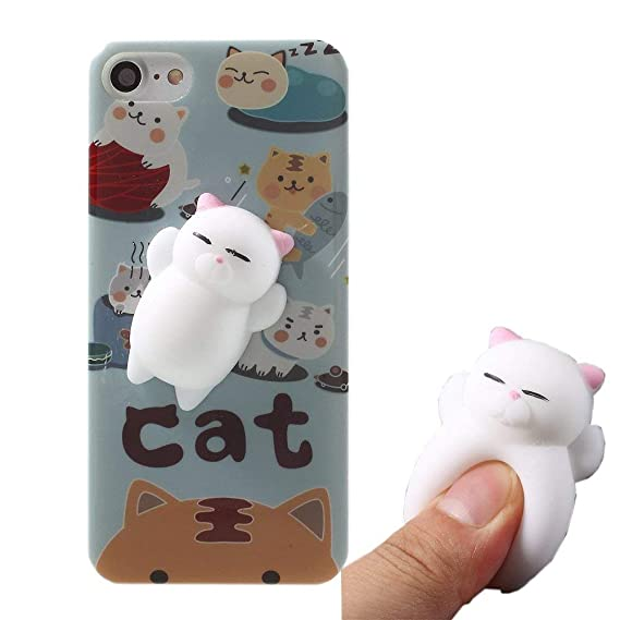 Squishy Cat Case for Galaxy A8 2018,Polar Bear Sleepy Cat Finger Pinch 3D Silicone Relax Poke Squishy Toys Kawaii Animals TPU Case for Samsung Galaxy ...