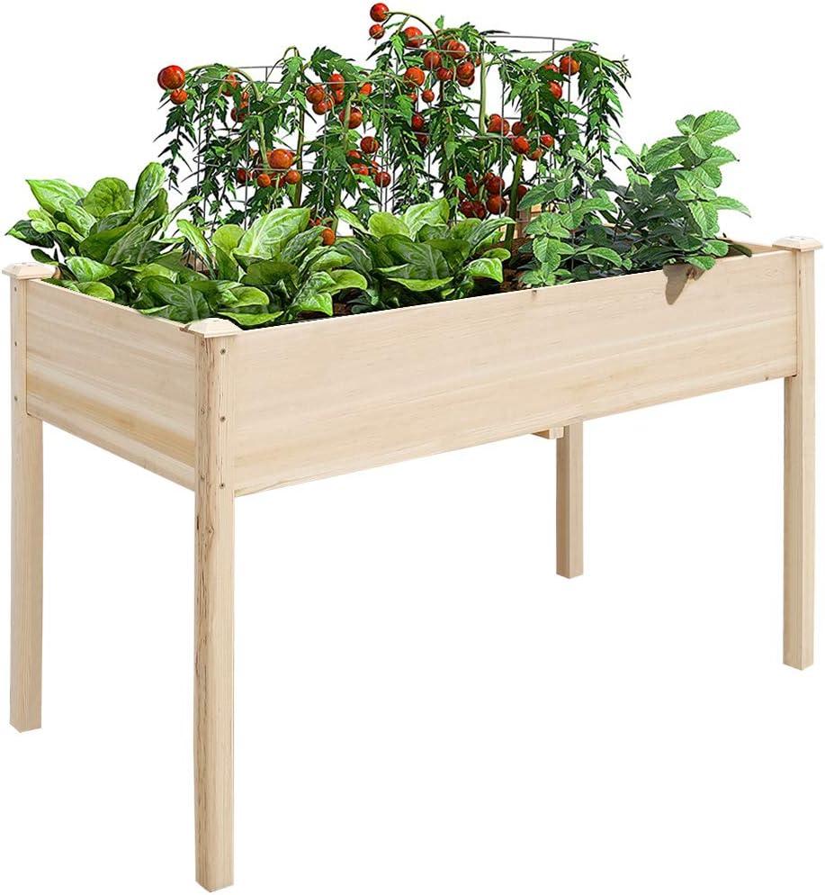 Mesa de Cultivo Grande, 118.5 x 57.5 x 74.5 cm Huerto Urbano de Madera, Jardinera Rectangular para Plantas Verduras Flores