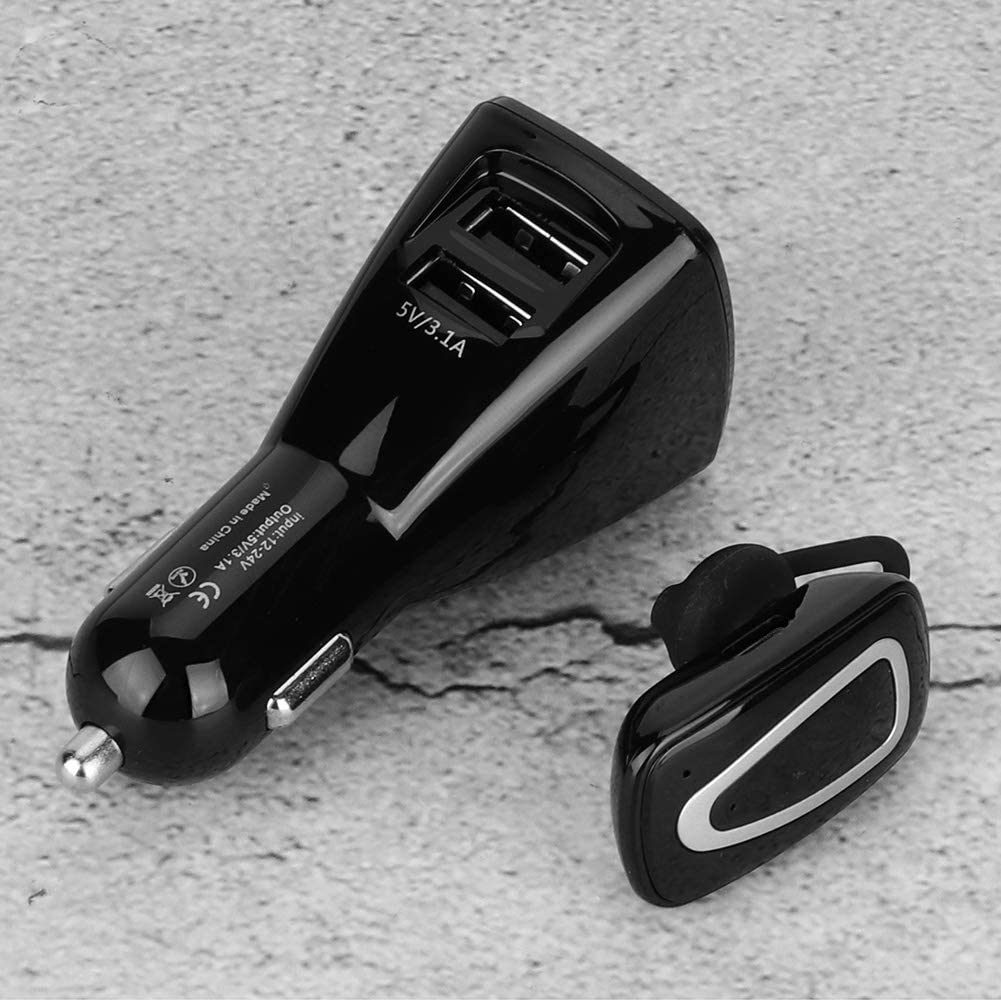 Suuonee Bluetooth Headset Wireless Bluetooth Car Headset Driving Hands Free Earbuds Dual USB Charger Music Player