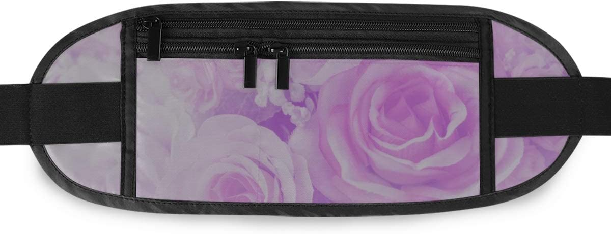 Blurred Rose Flowers Blooming Pastel Color Running Lumbar Pack For Travel Outdoor Sports Walki Travel Waist Pack,travel Pocket With Adjustable Belt