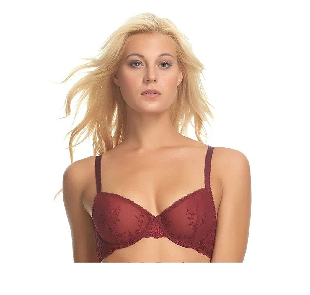 Apt 9 Intimates Luxe Embroidered Unlined Bra AF3913100E Crisp Merlot 38C at Amazon Womens Clothing store: