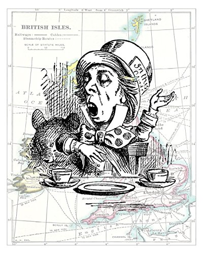 8x10 Black and White Illustration of the Mad Hatter, From Alice in Wonderland, a John Tenniel Illustration. Overlaid on a 19th Century Map of the British Isles, Size: 8x10 Inches (WMH1Map810) ()