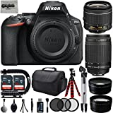 "Nikon D5600 24.2MP 1080P DSLR Camera w/ 3.2"" LCD - Wi-Fi & GPS Ready + 4 Lens - 18 to 300mm - 64GB - 30PC Kit - Nikon 18-55VR - Nikon 70-300G - Opteka 2.2X Tele - Opteka 0.43x Wide"