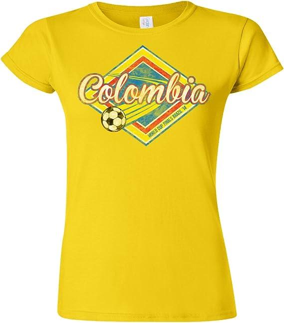 Colombia Football World Cup Ladies Camiseta Para Mujer Retro Soccer T-Shirt: Amazon.es: Ropa y accesorios