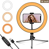 "LED Ring Light 10"" with Tripod Stand and Flexible Phone Holder for YouTube Video & Streaming, Desk Makeup Ring Light Dimmable for Phone, Selfie with 3 Light Modes & 10 Brightness Level(10"")"