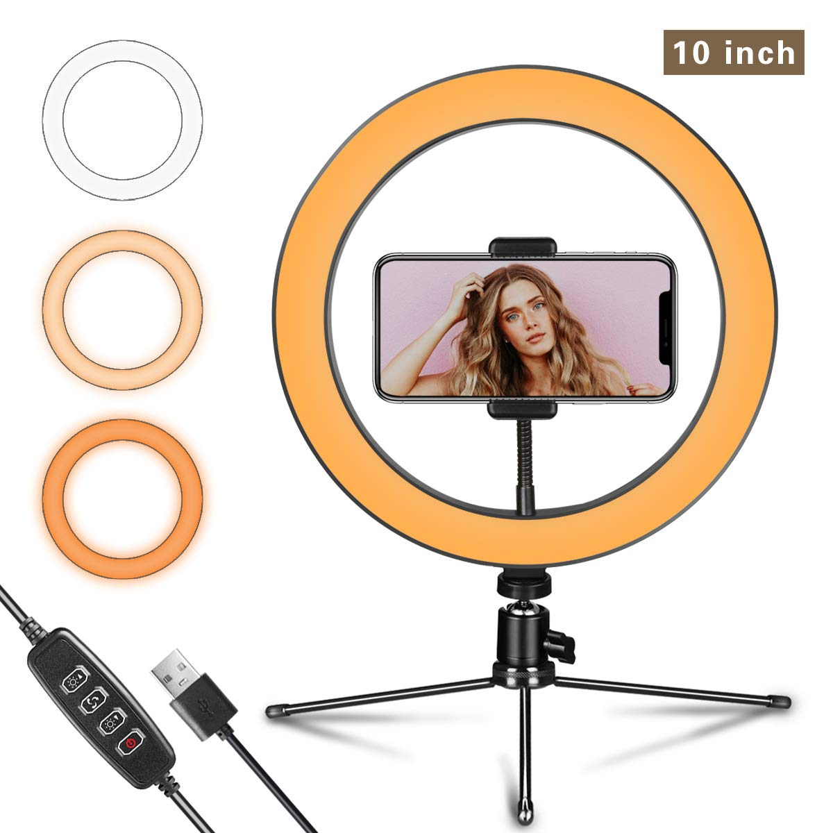 Ring Light 10'' with Tripod Stand and Phone Holder for YouTube Video & Streaming, Desk Makeup LED Ring Light Dimmable for Photography Lighting, Selfie with 3 Light Modes & 10 Brightness Level(10'')