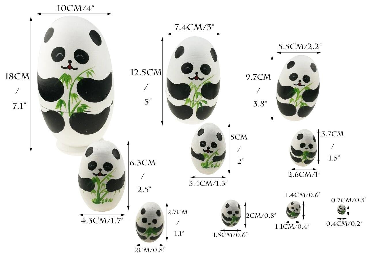 Apol Cute Panda With Bamboo Egg Shape Handmade Wooden Russian Nesting Dolls Matryoshka Doll Set 10 Pieces in a Exquisite Gift Box With Bow For Home Decoration Kids Toy Christmas Birthday Easter Gift by Apol (Image #4)