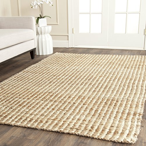 Safavieh Natural Fiber Collection NF734A Hand Woven Natural and Ivory Jute Area Rug (3' x 5') -
