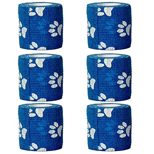 GouGou Self-Adhesive Tape Bandage Rolls Non-woven Ventilate Flexible Wrap for Soccer Basketball Sports Ankle Waist Knee Finger Elbow Ankle Support Tape 6PCS 2 in X 14.7 ft (Blue&White paw (Blue Paw Print)