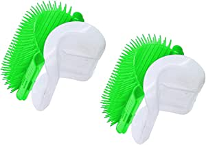 TabEnter Cat Self Groomer with Catnip,Grooming Brush,Wall Corner Massage Comb,for Long & Short Fur Cats/Dogs,Helps Prevent Hairballs and Controls Shedding (2-Pack Green)