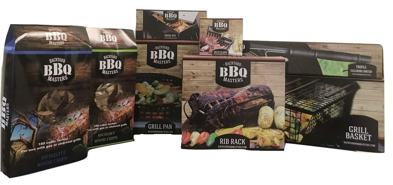 Backyard BBQ Masters 9 Piece Bundle- Rib Rack, Grill Pan, Grill Basket, Long Brush, Triple Cleaning Brush, Meat Claws, Smoke Box, Hickory Wood Chips, Mesquite Wood Chips by Backyard BBQ Masters