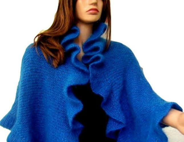 Amazon Blue Mohair Knit Ruffle Shawl Handmade