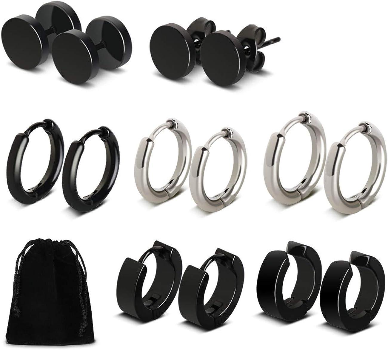 Pendientes de Aros de Acero Inoxidable 7 pares Negro para Hombres y Mujeres Zarcillos con piercing de redondo Moda Joyería Pendientes