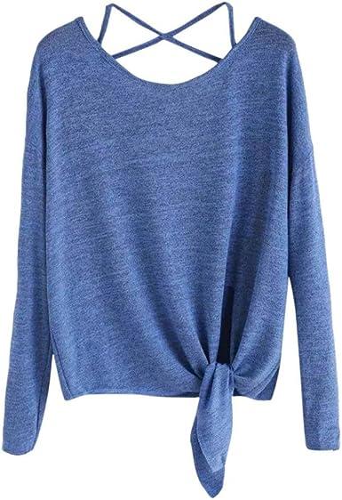 Blusa de Moda Verano Mujer, Camiseta de Blusa con Cuello en V de Manga Larga para Mujer: Amazon.es: Ropa y accesorios