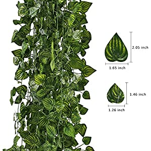 HOGADO Fake Vines, 79 FT Artificial Hanging Plants Silk Golden Devil's Ivy Leaves for Reptiles Wall Livingroom Outdoor Party Festival Decor Pack of 12 6