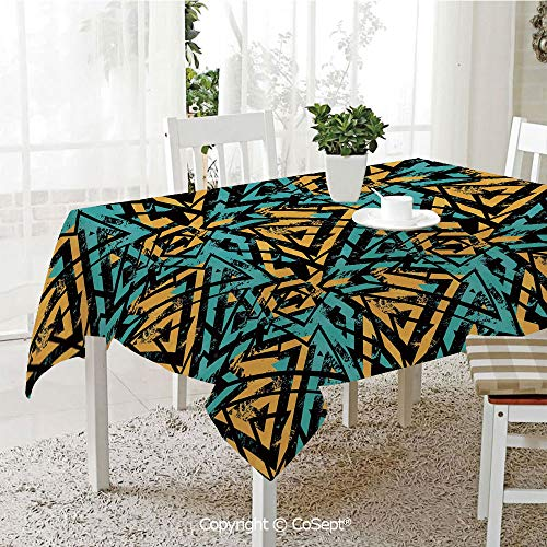 SCOXIXI Rectangle Tablecloth,Abstract Retro Street Art Pattern Underground Wall Paint Line Triangles,Great for Table,Parties,Holiday Dinner(60.23