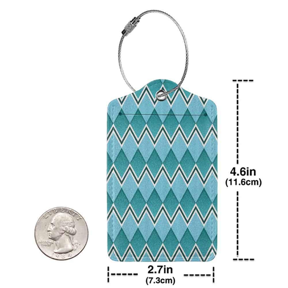 Flexible luggage tag Teal Decor Herringbone Diamond Shapes Squares Chevron Lines Geometric Texture Illustration Fashion match Teal Aqua W2.7 x L4.6