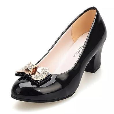 TYAW-Frauen Schuhe Niedrigem Absatz Schuhe Farbe Wies Metall Klettverschluss Flach Mund,Schwarz,35