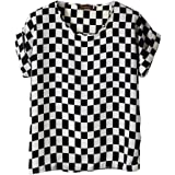 VOBAGA Women's Bird Heart Geometric Print Short Sleeve Chiffon Top T-Shirt Blouses