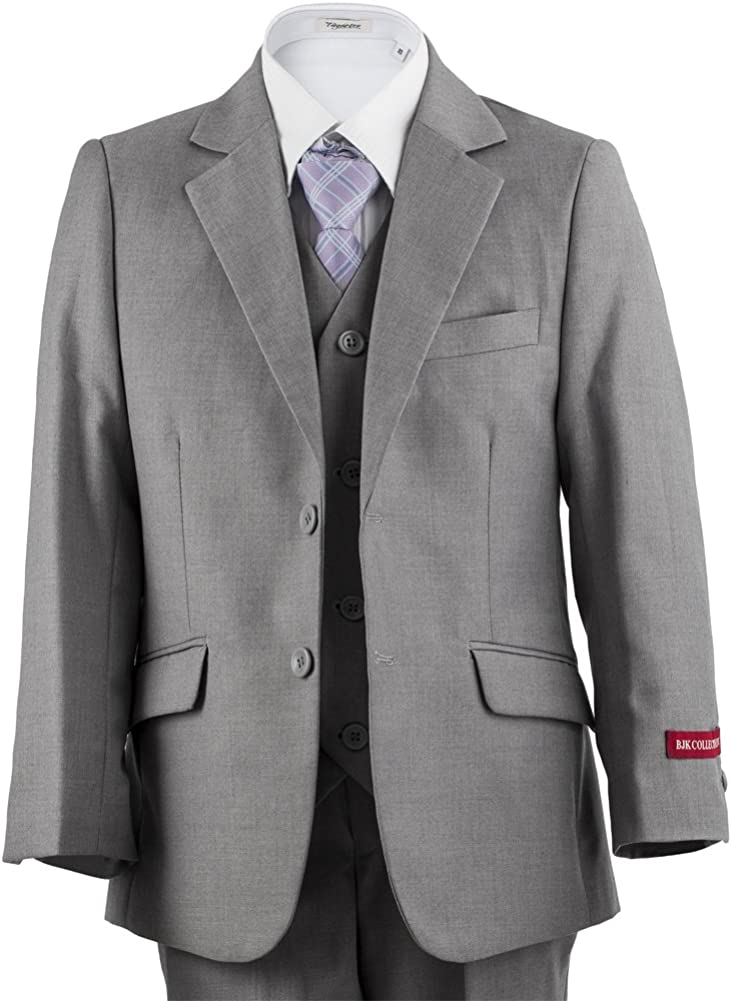 Ring Bearer /& Holiday Boys 2 Button Slim Fit Suit 5 Piece for Summer Weddings
