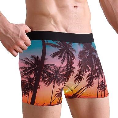 Mens Swim Trunk Boxer Brief Swimsuit Beach Underwear Quick Dry Boardshorts,Palm Tree Under Sunset